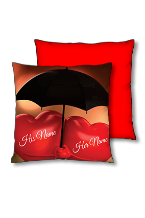 Couple Heart Polyester Square Red With Black Piping Cushion