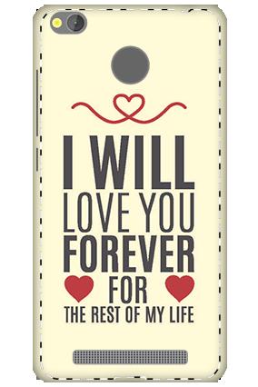 3D - Xiaomi Redmi 3S Prime Lifelong Love Mobile Covers