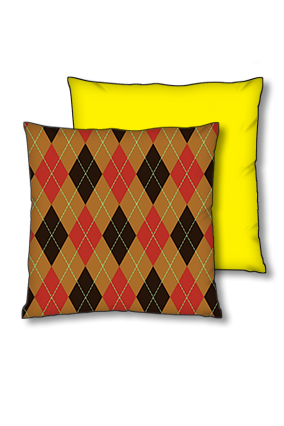 Joho Multicolor Box Background With White Line Pattern Polyester Square Yellow With Black Piping Cushion