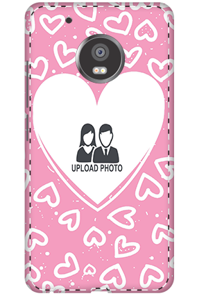 Customized 3D-Moto G5 Plus Customized Pink Hearts Mobile Cover