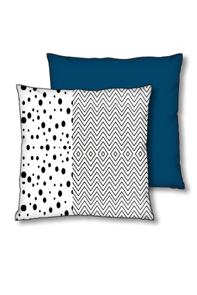 Line Pattern with Dotted Art Polyester Square Navy Blue With Red Piping Cushion