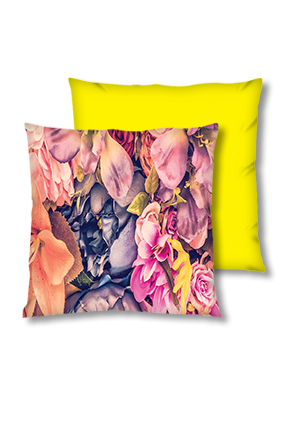 Floral Abstract Background Velvet Square Yellow Cushion