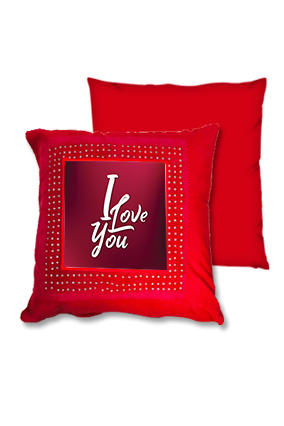 Dusky Red Love Red Square Cushion