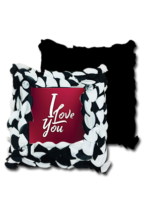 Love You Black and White Polyester Square Black & White Petal Cushion