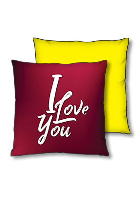 Love You Yellow Polyester Square Yellow With Black Piping Cushion