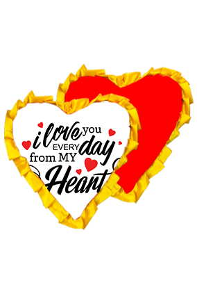 Love You Everday Velvet Heart Shape Red With Yellow Ribbon Cushion