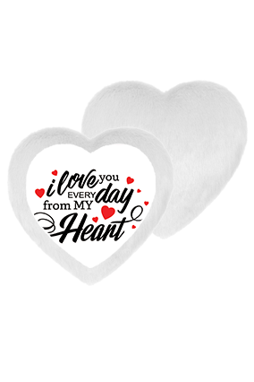 Iove From My Heart White Fur Heart Shape White LED Cushion