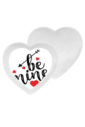 Be Mine Always White Fur Heart Shape White LED Cushion