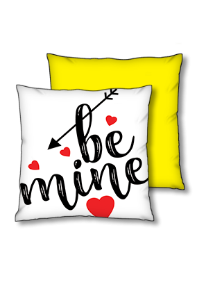 Be Mine Polyester Square Yellow With Black Piping Cushion
