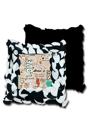 Love And Quotes Black And White Polyester Square Black & White Petal Cushion