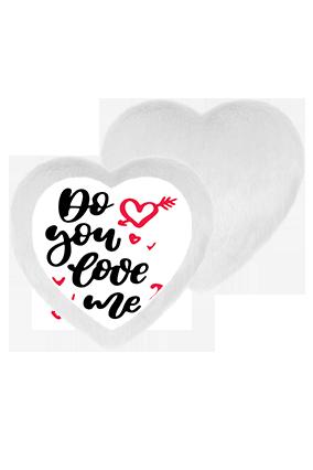 Do You Love Me White Fur Heart Shape White LED Cushion