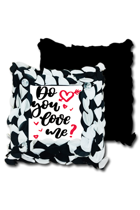 Love Proposal Black And White Polyester Square Black & White Petal Cushion
