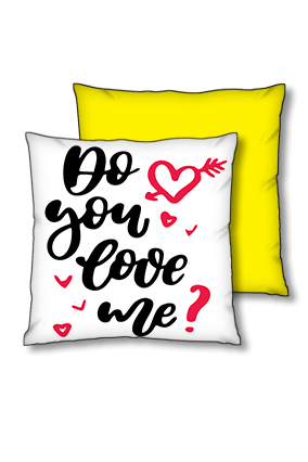 Do You Love Me Polyester Square Yellow With Black Piping Cushion