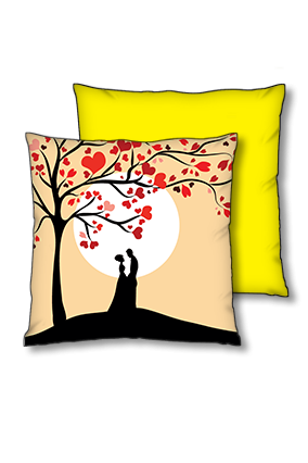 Romantic Couple Polyester Square Yellow With Black Piping Cushion