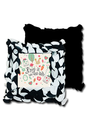 Love In Air Black And White Polyester Square Black & White Petal Cushion