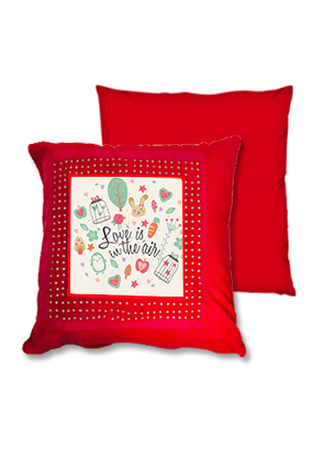 Love In Air Red Square Cushion