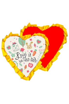 Love Is In Air Velvet Heart Shape Red With Yellow Ribbon Cushion