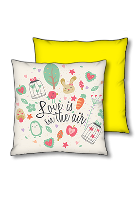 Love In Air Polyester Square Yellow With Black Piping Cushion
