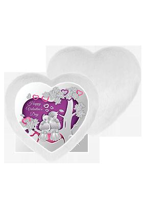 Shiny Love Birds White Fur Heart Shape White LED Cushion