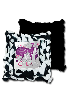 Purple Heart Love Birds Black And White Polyester Square Black & White Petal Cushion