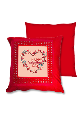 Valentine Heart Red Square Cushion