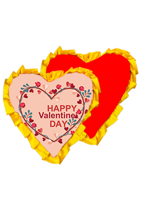Valentine Special Heart Velvet Heart Shape Red With Yellow Ribbon Cushion