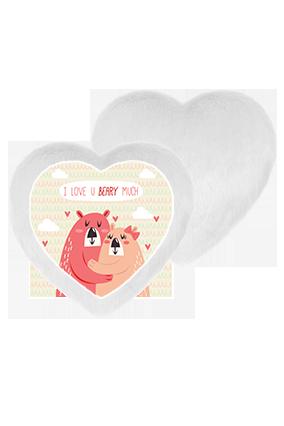 Love You Beary White Fur Heart Shape White LED Cushion
