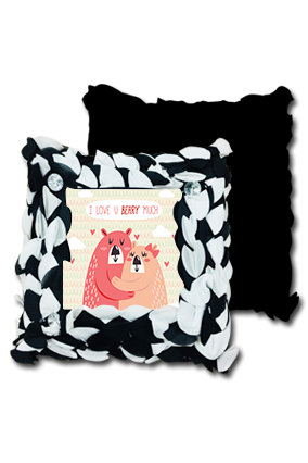 Love You Beary Black And White Polyester Square Black & White Petal Cushion