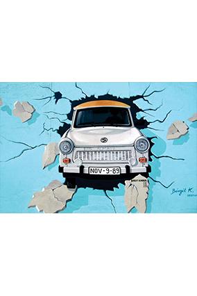 Wall Breaking Car Landscape Poster