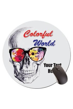 Colorful world Scull Round Mouse Pad