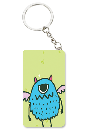 Angry Owl Small Rectangle Key Chain