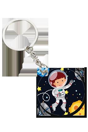 Little Astronaut Round Shape Key Chain