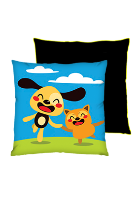 Happy Friend Square Black With Yellow Piping Cushions