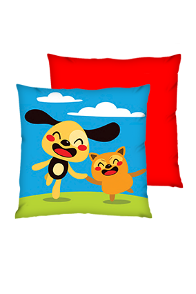 Happy Friend Polyester Square Red Cushions
