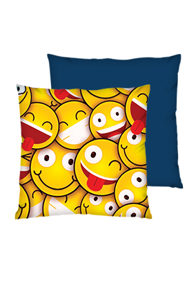 Smiley Polyester Square Shape Navy Blue Cushions