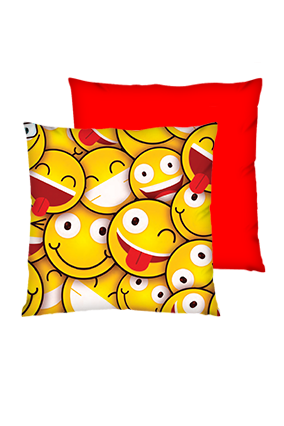 Smiley Square Polyester Square Red Cushions