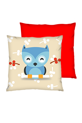 Little Bird Polyester Square Red Cushions