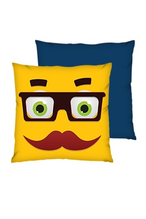 Moustache Uncle Polyester Square Shape Navy Blue Cushions