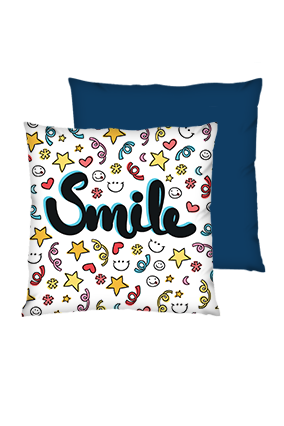 Just Smile Polyester Square Shape Navy Blue Cushions
