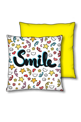 Just Smile Polyester Square Yellow With Black Piping Cushions