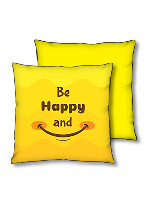 Be Happy And Smile Polyester Square Yellow With Black Piping Cushions