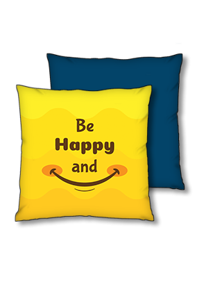 Be Happy And Smile Polyester Square Navy Blue With Red Piping Cushions