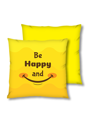 Be Happy And Smile Velvet Square Yellow Cushion
