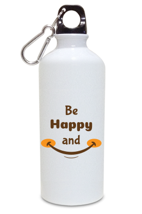 Be Happy And Smile Aluminium White Color Sipper