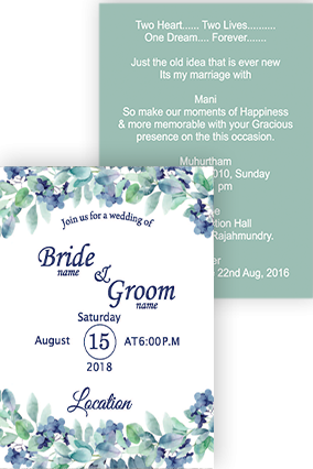 Eye Catching Peaceful flowers Portrait Wedding Invitation Card