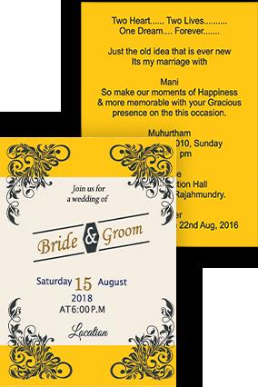 Classic Yellow shading Portrait Wedding Invitation Card