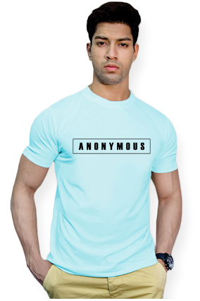 Effit Anonymous Round Neck Sky Blue Mega Print T-Shirt