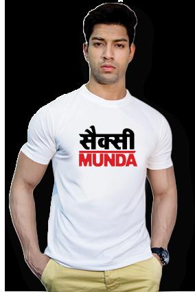 Effit Sexy Munda Round Neck White Mega Print T-Shirt