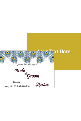 Personalised Beautiful Mor Pankh Landscape Wedding Invitation Card