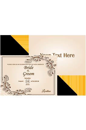Customized Bright Beige Shading Landscape Wedding Invitation Card